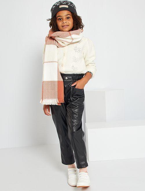 Pantalón paperbag sintético                             negro
