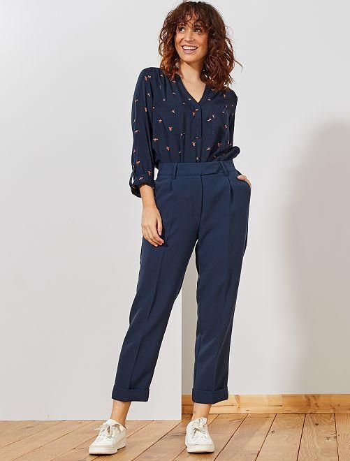 Pantalón pinzas tapered                                         azul