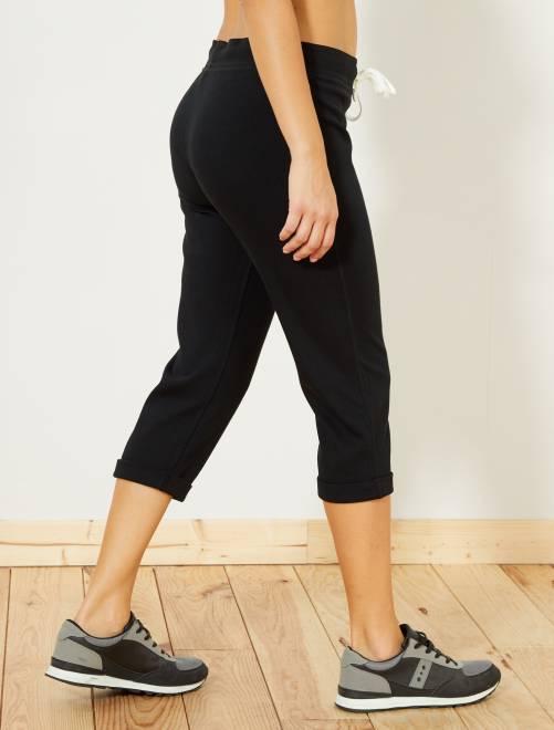 Pantalón pirata deportivo elástico                             negro Mujer talla 34 a 48