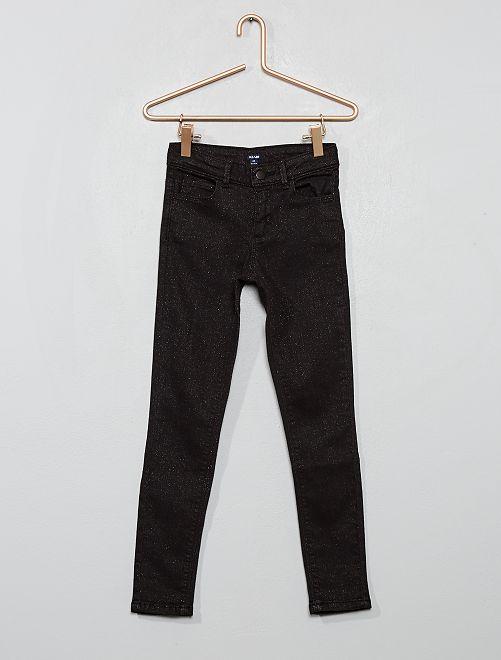 Pantalón pitillo de punto efecto vaquero brillante                                         negro
