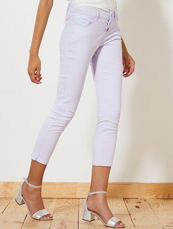 Mujer - Pantalón pitillo tobillero con botones - Kiabi