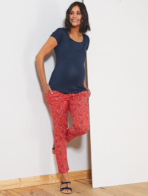 Pantalón premamá estampado                                                     ROJO Mujer talla 34 a 48
