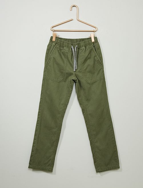 Pantalón recto abrigado                                                                 verde oscuro