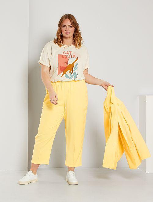 Pantalón recto cintura elástica                             amarillo suave