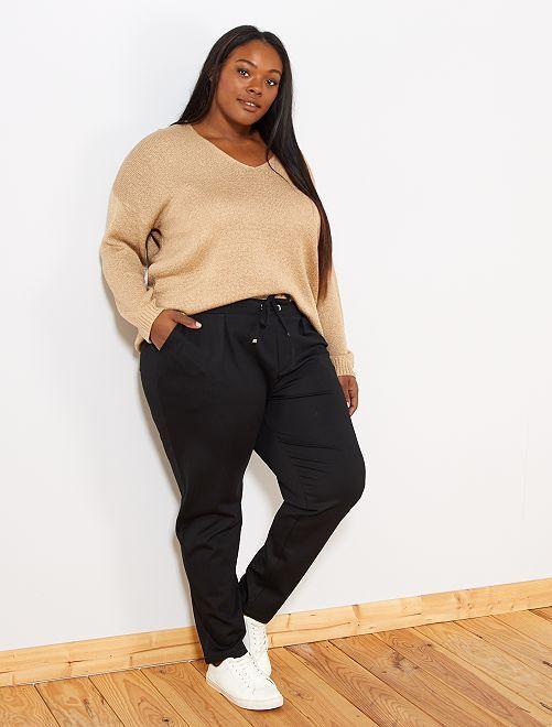 Pantalón recto cintura elástica                             negro