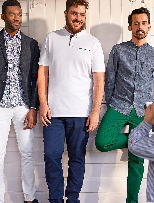 Pantalón recto de algodón elástico                             azul índigo Tallas grandes hombre