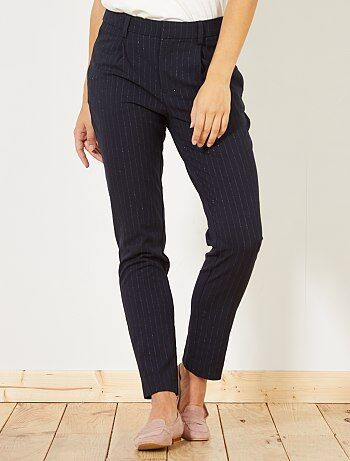 Pantalón recto de rayas con pinzas - Kiabi