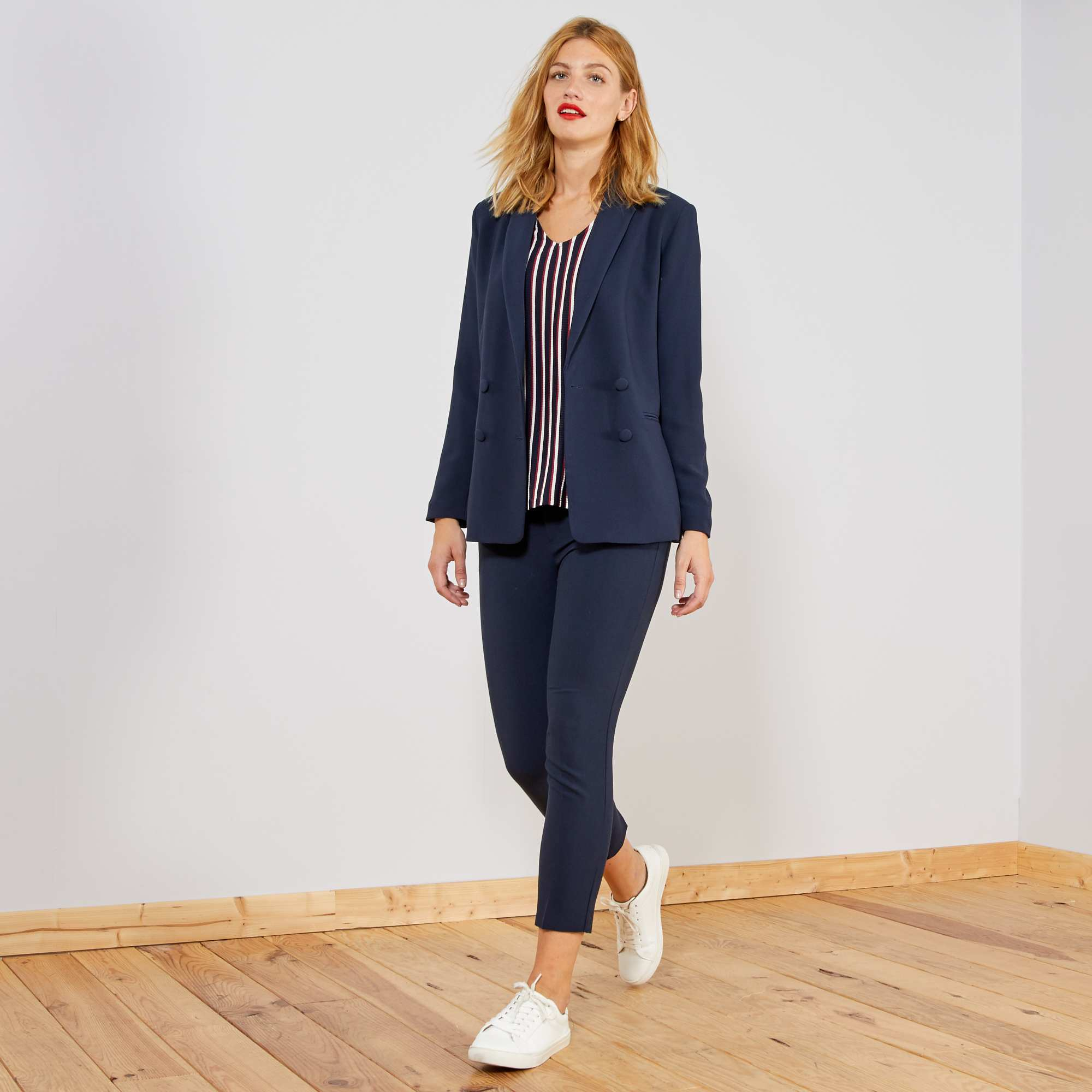 54ec553747 Pantalón recto estilo sastre AZUL Mujer talla 34 a 48. Loading zoom. Haz  clic en la imagen para agrandar. zoom