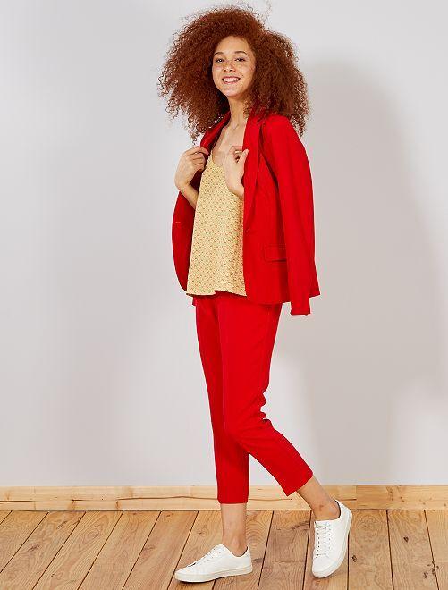 Pantalón recto estilo sastre                                                                 ROJO Mujer talla 34 a 48