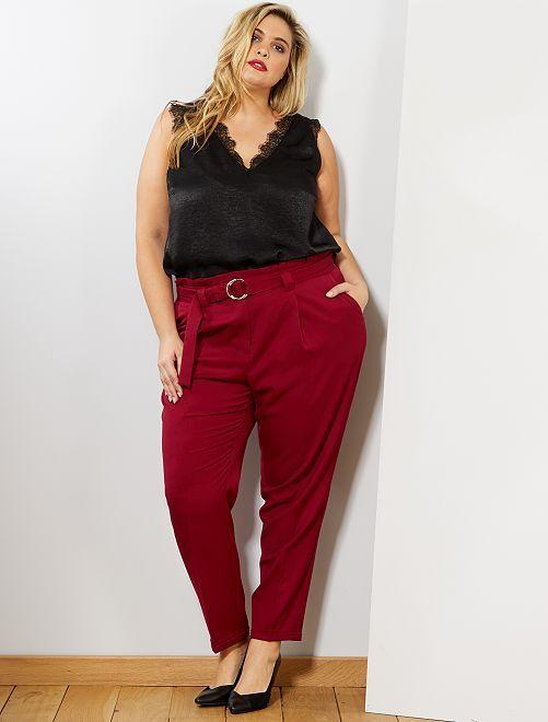 Pantalón recto paperbag                                         rojo oscuro