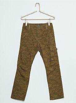 Pantalones - Pantalón recto tipo cargo de lona de algodón