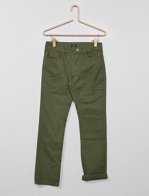 Pantalón regular liso                                         verde oscuro