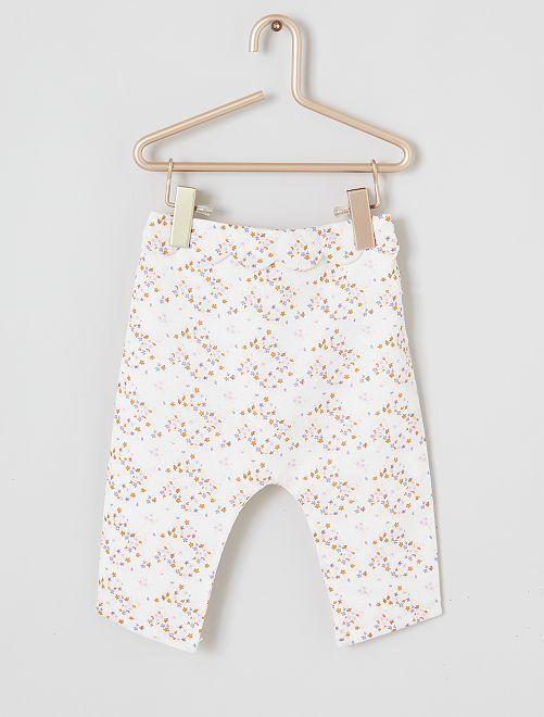 Pantalón sarouel de lino y algodón                             BLANCO
