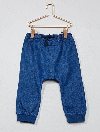 Pantalón sarouel de tejido vaquero ligero - Kiabi
