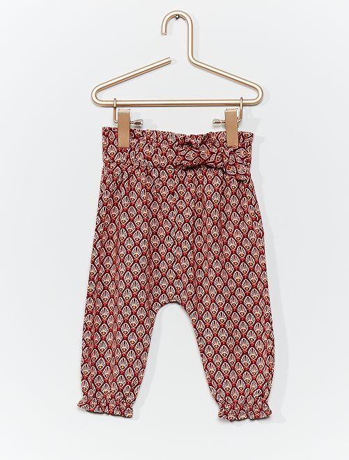 Pantalón sarouel estampado                                                     ROJO