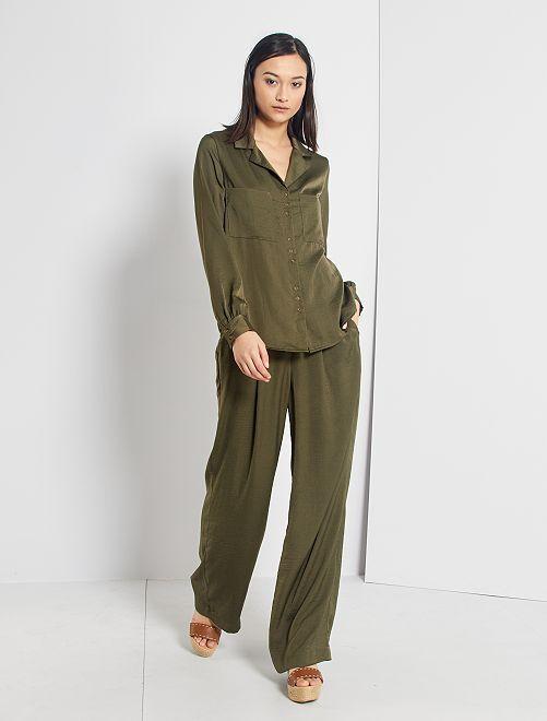 Pantalón satinado                                                                 verde oscuro