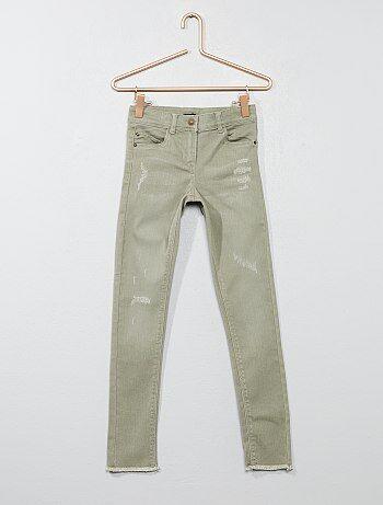 Niña 3-12 años - Pantalón skinny con acabado de flecos - Kiabi