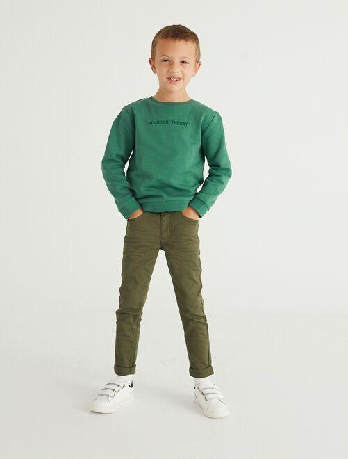 Pantalón skinny con cinco bolsillos                                                                                                     verde oscuro