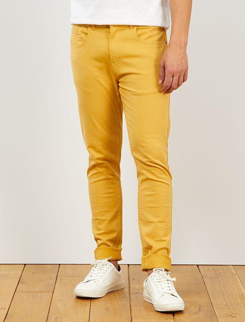 Pantalón skinny de algodón elástico                                                                 AMARILLO