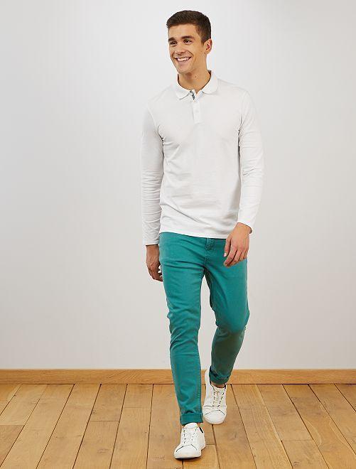 Pantalón skinny de algodón elástico                                                                 AZUL