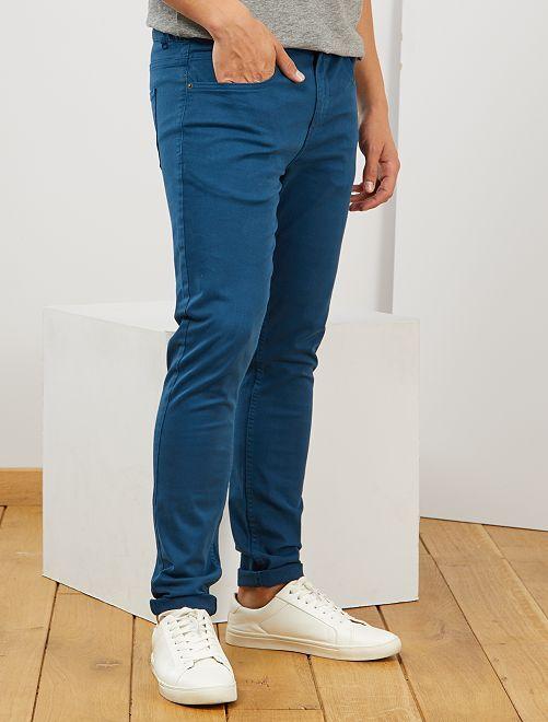 Pantalón skinny de algodón elástico                                         azul poseidon