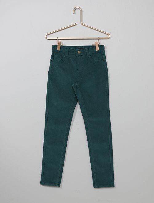 Pantalón skinny de pana                                                                                                     verde profundo