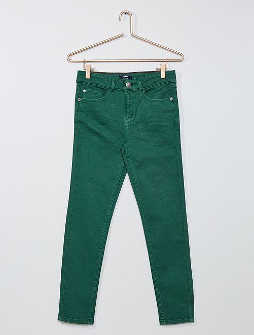 Pantalón skinny de sarga 'eco-concepción'                                                                 VERDE