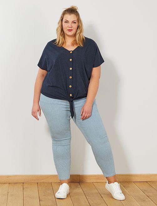 Pantalón skinny de talle alto                             AZUL Tallas grandes mujer