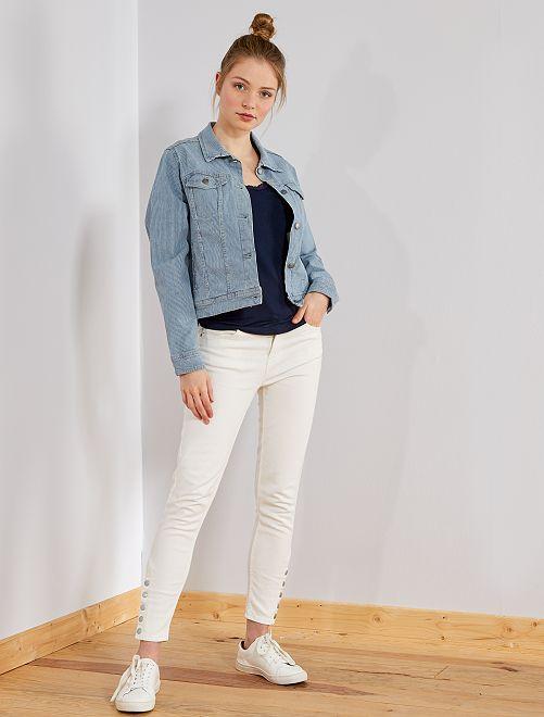 Pantalón skinny de talle alto                     BLANCO Mujer talla 34 a 48