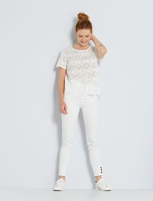 Pantalón skinny de talle alto                                         blanco nieve