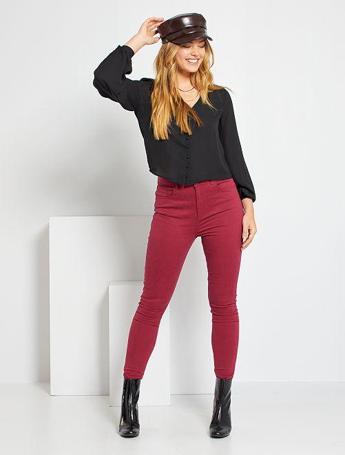 Pantalón skinny de talle alto                                                                 rojo rododendro