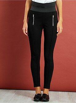 Pantalones de vestir - Pantalón skinny de talle alto y punto milano