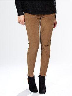 Mujer Pantalón skinny de terciopelo acanalado con cremallera en el bajo