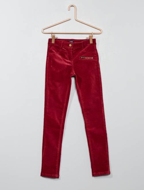 Pantalón skinny de terciopelo                             rojo Chica
