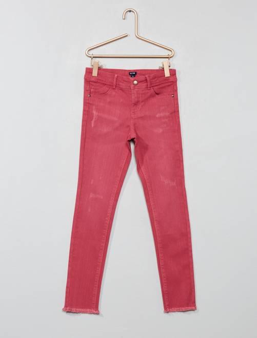 Pantalón skinny destroy                             rosa oscuro Chica