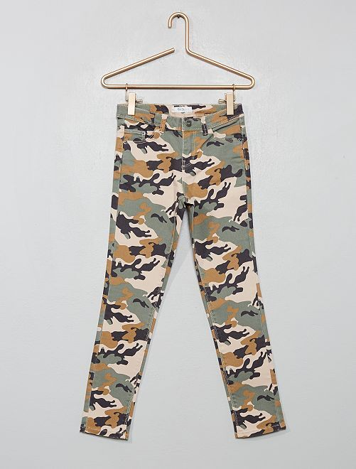 Pantalón skinny estampado                                                     BEIGE