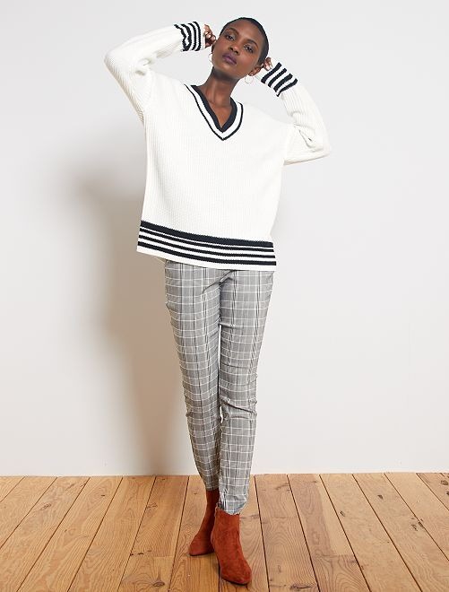 Pantalón skinny estampado 'Príncipe de Gales'                                                     cuadros gris