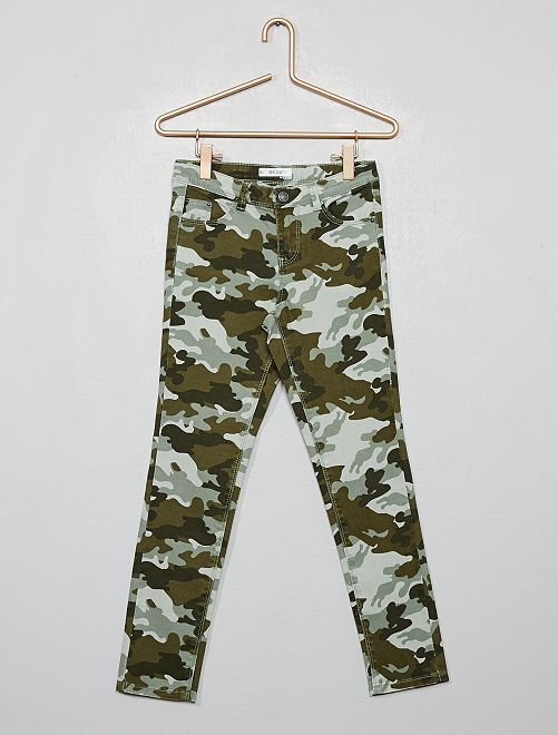 Pantalón skinny estampado                                                     VERDE