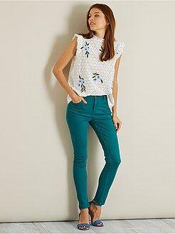 Mujer - Pantalón skinny tobillero de talle alto - Kiabi