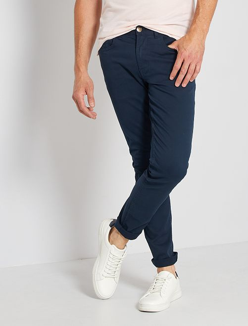 Pantalón slim 5 bolsillos de sarga                                                                                                                             AZUL