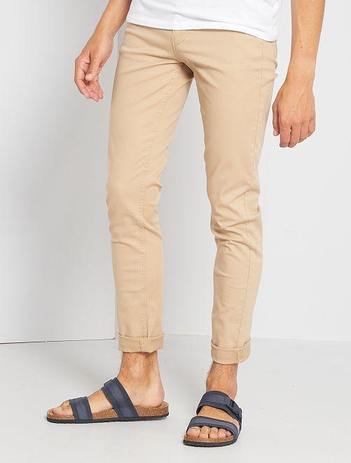 Pantalón slim 5 bolsillos de sarga                                                                                                                 BEIGE