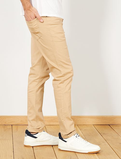 Pantalón slim 5 bolsillos de sarga                                                                                                     BEIGE Hombre
