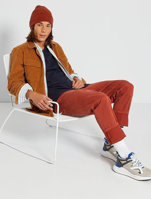 Pantalón slim 5 bolsillos de sarga                                                                                                                                                     NARANJA