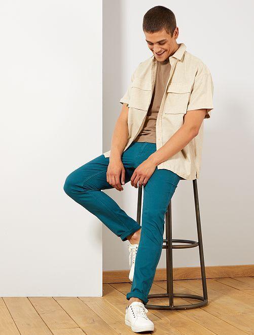 Pantalón slim 5 bolsillos de sarga                                                                                                     verde profundo Hombre
