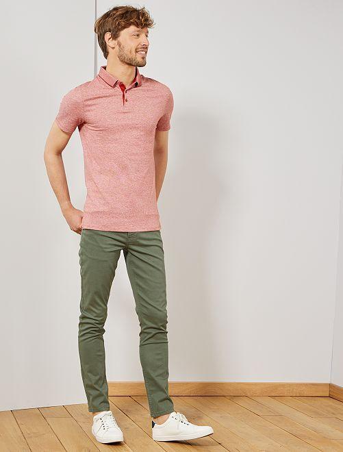 Pantalón slim 5 bolsillos de sarga                                                                                         verde tomillo