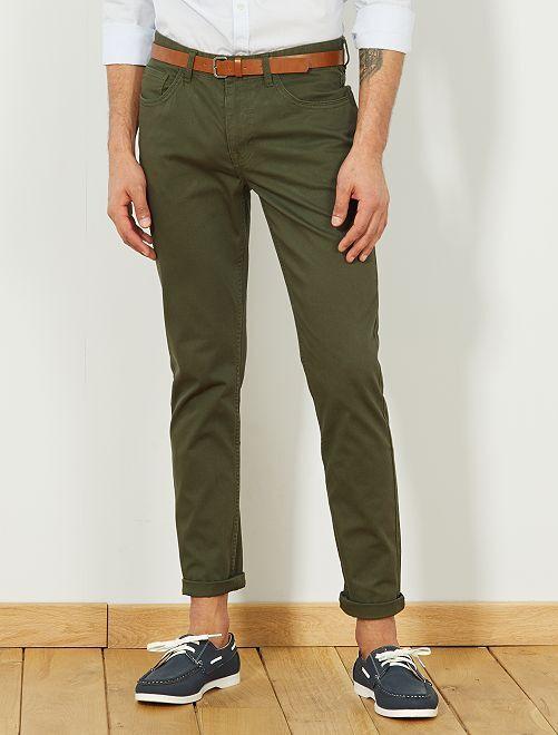 Pantalón slim 5 bolsillos                             verde selva Hombre