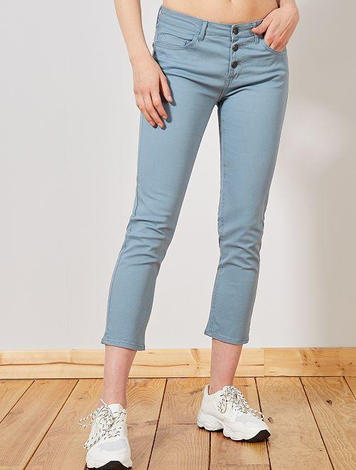 Pantalón slim 7/8                                                                                                                             azul gris Mujer talla 34 a 48