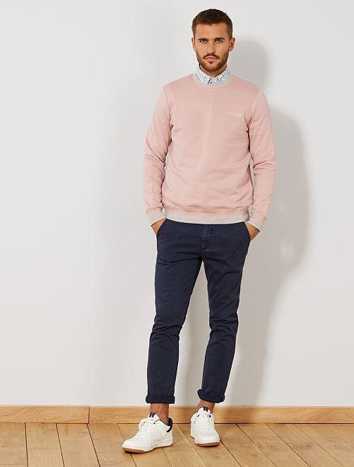Pantalón slim chino con ligero efecto descolorido                                         AZUL Hombre