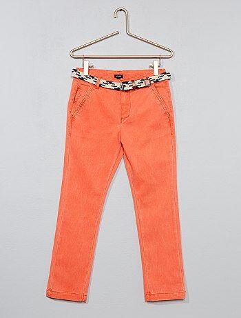 Pantalón slim + cinturón trenzado - Kiabi