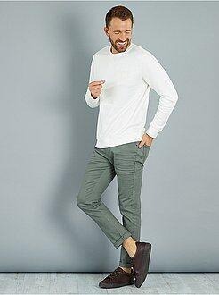Pantalones casual - Pantalón slim con 5 bolsillos de algodón elástico